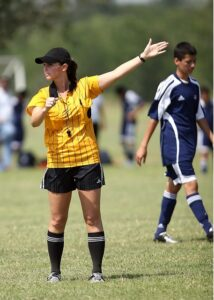 A female soccer referee