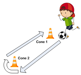 Walk and dribble around cones