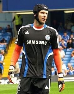 Petr Cech is a professional soccer goalkeeper who wears a head guard after suffering concussion