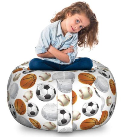 Best Soccer Gifts For Kids - Ambesonne Sports Storage Toy Bag Chair
