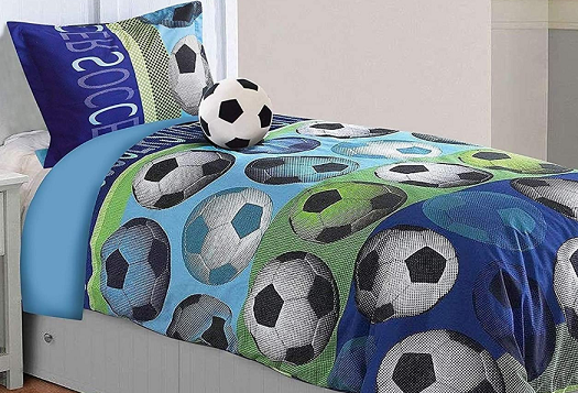 Soccer Themed Bedding - All American Collection 3 Piece Twin Size Soccer Comforter Set