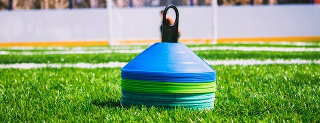 Soccer cones on the grass