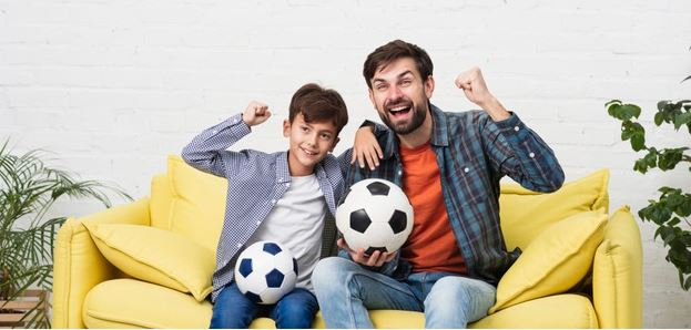 Soccer Activities For kids - Father and Son Watching Soccer