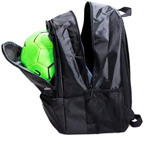 Athletico youth soccer backpack side view